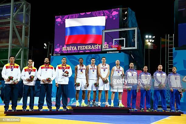 Silver medalists Sergio de la Fuente Valdizan Alejandro Llorca Castillo Juan Vasco Trabado and Jose Ignacio Martin Monzon of Spain gold medalists...