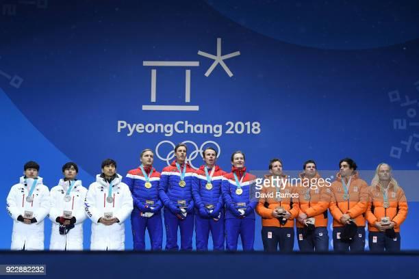 Silver medalists SeungHoon Lee Jaewon Chung Min Seok Kim of Korea gold medalists Havard Bokko Sindre Henriksen Simen Spieler Nilsen and Sverre Lunde...