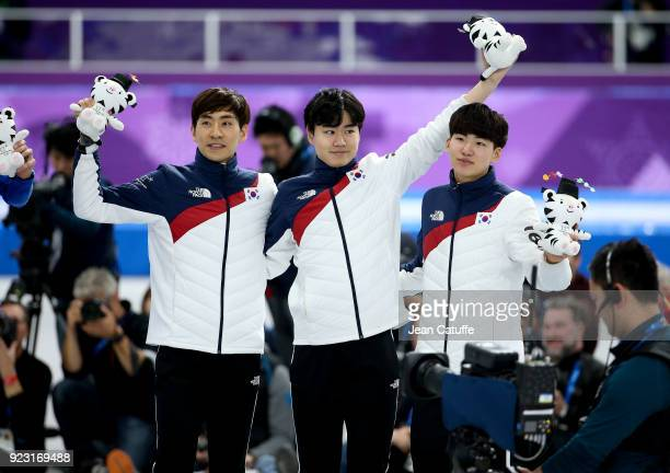 Silver medalists SeungHoon Lee Jaewon Chung Min Seok Kim of Korea celebrate following the Speed Skating Men's Team Pursuit Final on day 12 of the...