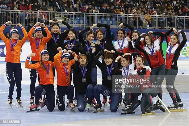 Silver medalists Suzanne Schulting Yara van Kerkhof Lara van Ruijven and Rianne de Vries of Netherlands gold medalists Choi MinJeong Shim SukHee Noh...