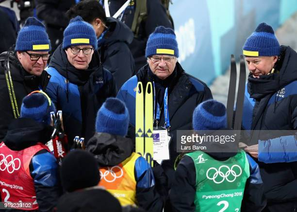 Silver medalists Sweden celebrate with King Carl Gustaf of Sweden after the Ladies' 4x5km Relay on day eight of the PyeongChang 2018 Winter Olympic...