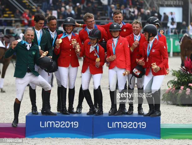 Silver medalists team Brazil Rafael Mamprin, Carlos Parro and Marcelo Tosi Gold medalists team United State Tamra Smith, Douglas Payne, Lynn Symansky...