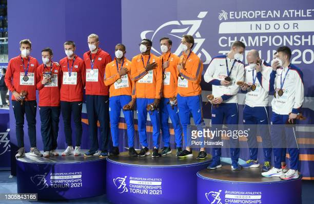 Silver medalists Team Czech Republic, gold medalists Team Netherlands and bronze medalists team Great Britain pose for a photo during the medal...