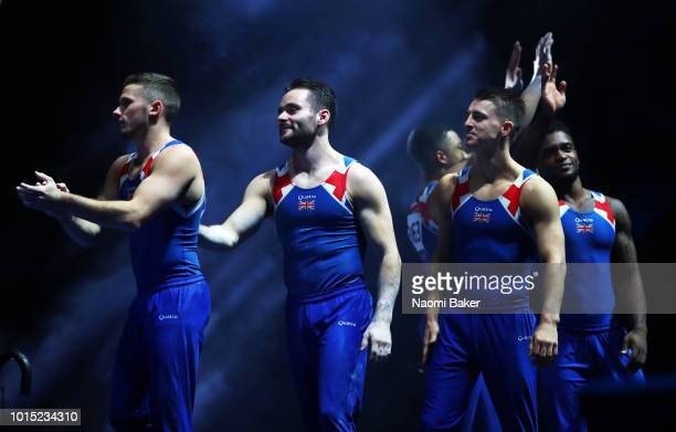 Silver medalists Team Great Britain walks out during the medal ceremony after the Men's Gymnastics Final during the Gymnastics on Day Ten of the...
