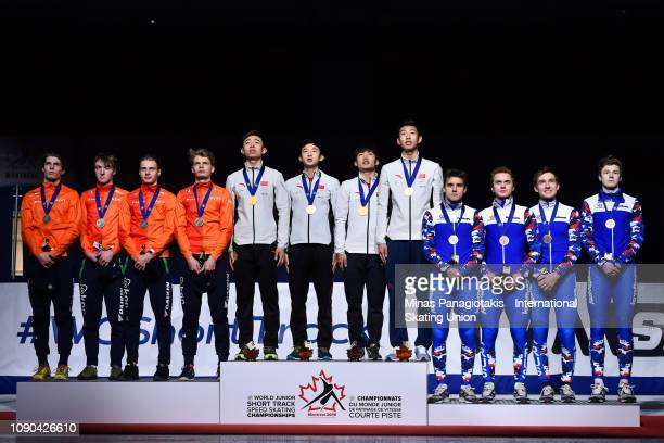 Silver medalists Team Netherlands gold medalists Team China and bronze medalists Team Russia stand on the podium after finishing in the top three in...
