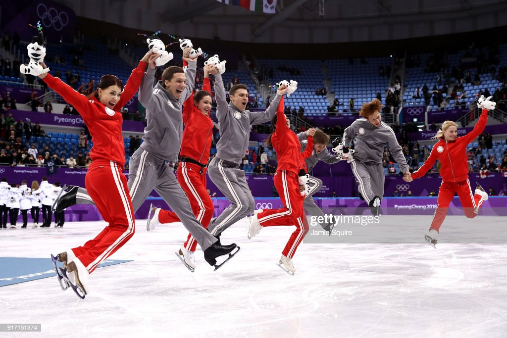 Silver medalists Team Olympic Athlete from Russia celebrate during the victory ceremony after the Figure Skating Team Event on day three of the PyeongChang 2018 Winter Olympic Games at Gangneung Ice Arena on February 12, 2018 in Gangneung, South Korea.