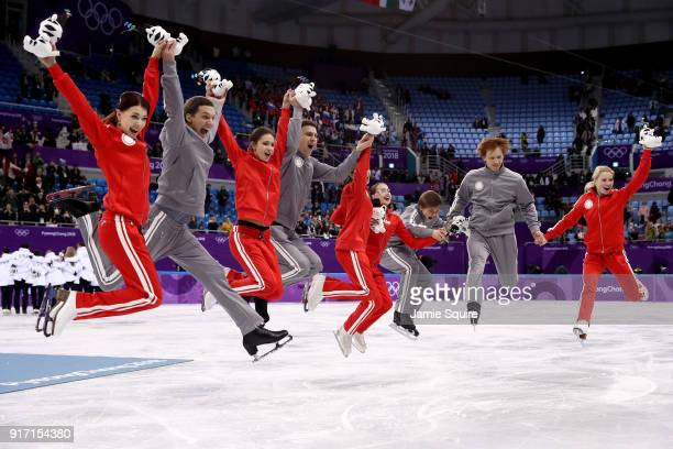 Silver medalists Team Olympic Athlete from Russia celebrate during the victory ceremony after the Figure Skating Team Event on day three of the...
