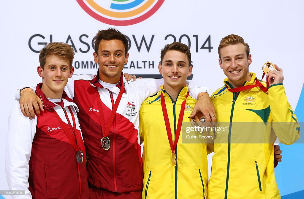 Silver medalists Tom Daley (2ndL) and James Denny (L) of England pose with Gold medalists Domonic Bedggood (2ndR) and Matthew Mitcham of Australia during the medal ceremony for the Men's Synchronised 10m Platform Final at Royal Commonwealth Pool during day nine of the Glasgow 2014 Commonwealth Games on August 1, 2014 in Edinburgh, Scotland.
