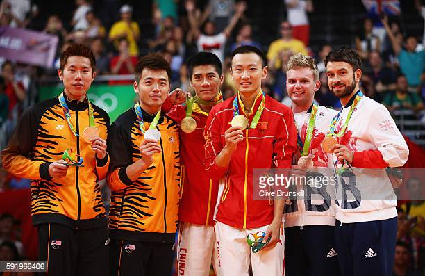 Silver medalists V Shem Goh and Wee Kiong Tan of Malaysia gold medalists Haifeng Fu and Nan Zhang of China and bronze medalists Marcus Ellis and...