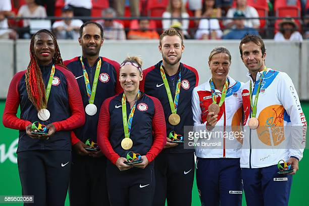 Silver medalists Venus Williams and Rajeev Ram of the United States gold medalists Bethanie MattekSands and Jack Sock of the United States and bronze...