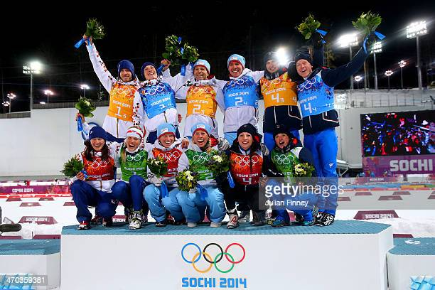Silver medalists Veronika Vitkova of the Czech Republic, Gabriela Soukalova of the Czech Republic, Jaroslav Soukup of the Czech Republic, Ondrej...