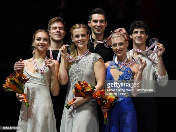 Silver medalists Victoria Sinitsina and Nikita Katsalapov of Russia gold medalists Madison Hubbell and Zachary Donohue of the United States and...
