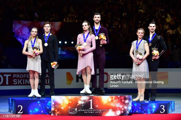 Silver medalists Victoria Sinitsina and Nikita Katsalapov of Russia gold medalists Gabriella Papadakis and Guillaume Cizeron of France and bronze...