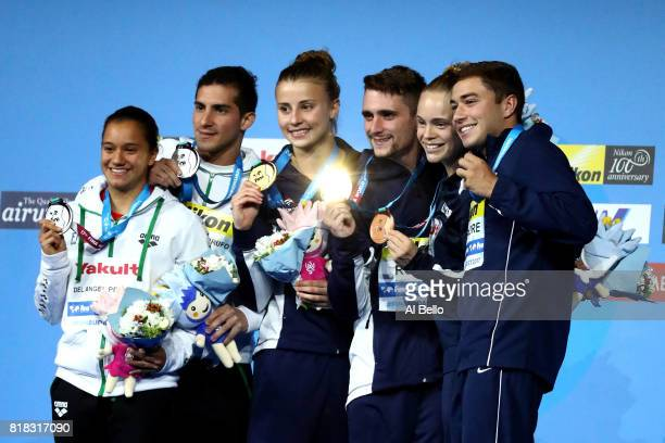 Silver medalists Viviana Del Angel Peniche and Rommel Pacheco Marrufo of Mexico gold medalists Laura Marino and Mattieu Rosset of France and bronze...