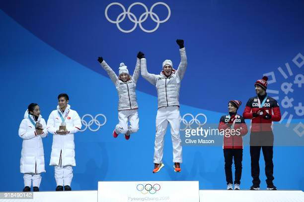 Silver medalists Wenjing Sui and Cong Han of China gold medalists Aljona Savchenko and Bruno Massot of Germany and bronze medalists Meagan Duhamel...