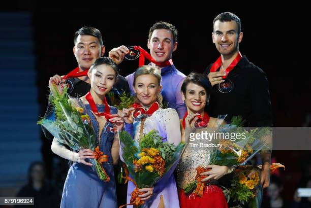 Silver medalists Xiaoyu Yu and Hao Zhang of China gold medalists Aliona Savchenko and Bruno Massot of Germany and bronze medalists Meagan Duhamel and...