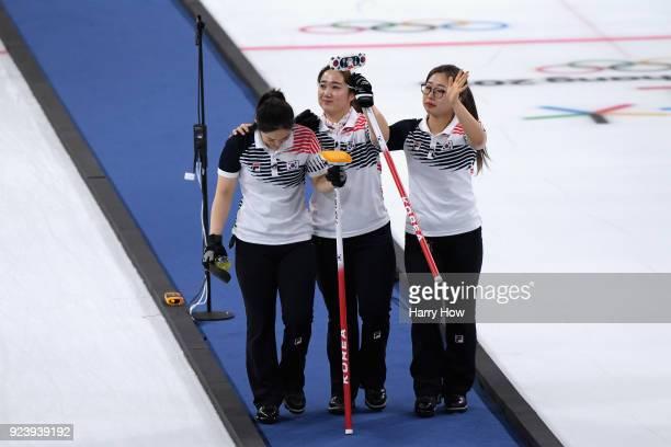 Silver medalists YeongMi Kim SeonYeong Kim KyeongAe Kim and EunJung Kim of Korea look dejected following the Women's Gold Medal Game between Sweden...