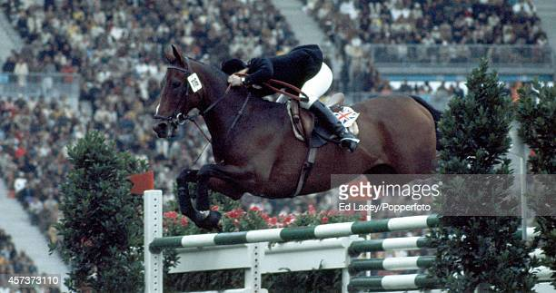 Silver medallist Ann Moore of Great Britain riding Psalm during the individual jumping competition at the Summer Olympic Games in Munich circa...