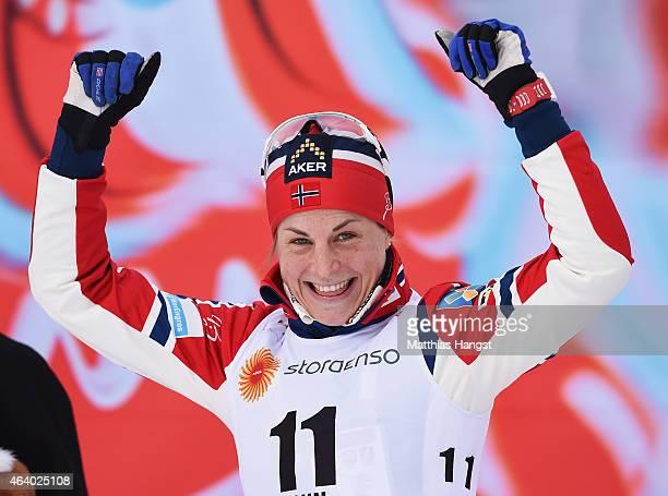 Silver medallist Astrid Uhrenholdt Jacobsen of Norway celebrates after the Women's 15km CrossCountry Skiathlon during the FIS Nordic World Ski...