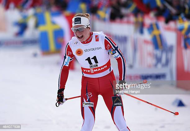 Silver medallist Astrid Uhrenholdt Jacobsen of Norway reacts after the Women's 15km CrossCountry Skiathlon during the FIS Nordic World Ski...
