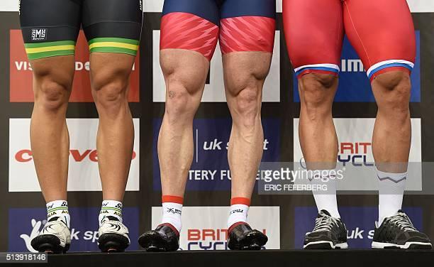 Silver medallist Australia's Matthew Glaetzer Gold medallist Britain's Kenny Jason and bronze medallist Russia's Denis Dmitriev stand on the podium...