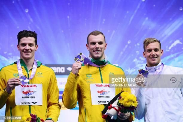 Silver medallist Australia's swimmer Jack Cartwright gold medallist Australia's swimmer Kyle Chalmers and bronze medallist US swimmer Caeleb Dressel...