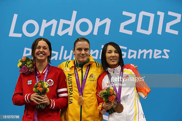 Silver medallist Brianna Nelson of Canada, gold medallist Jacqueline Freney of Australia and bronze medallist Min Huang of China pose on the podium...
