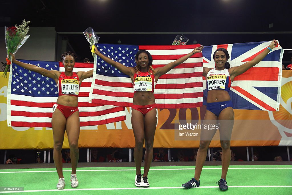 Silver medallist Brianna Rollins of the United States, gold medallist Nia Ali of the United States and bronze medallist Tiffany Porter of Great Britain celebrate after the Women's 60 Metres Hurdles Final during day two of the IAAF World Indoor Championships at Oregon Convention Center on March 18, 2016 in Portland, Oregon.