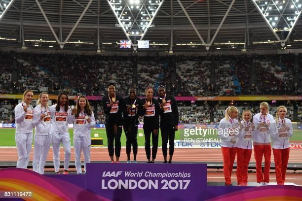 Silver medallist Britain's Emily Diamond Britain's Zoey Clark Britain's Laviai Nielsen and Britain's Eilidh Doyle gold medallists US athlete Quanera...