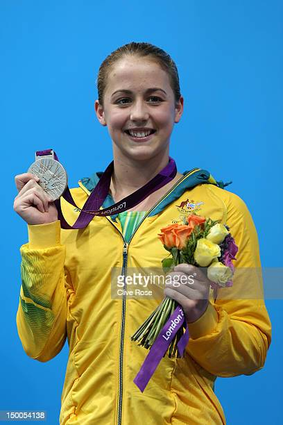 Silver medallist Brittany Broben of Australia poses on the podium during the medal ceremony for the Women's 10m Platform Diving Final on Day 13 of...
