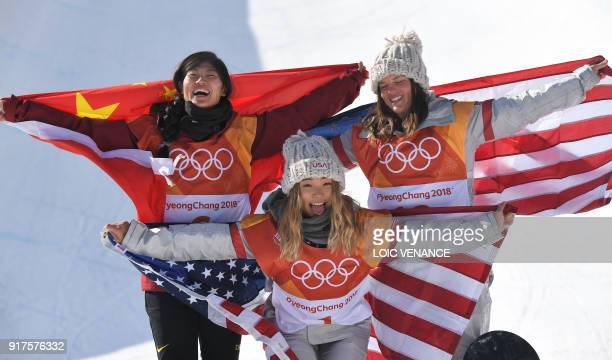 TOPSHOT Silver medallist China's Liu Jiayu gold medallist US Chloe Kim and bronze medallist US Arielle Gold celebrate during the victory ceremony...