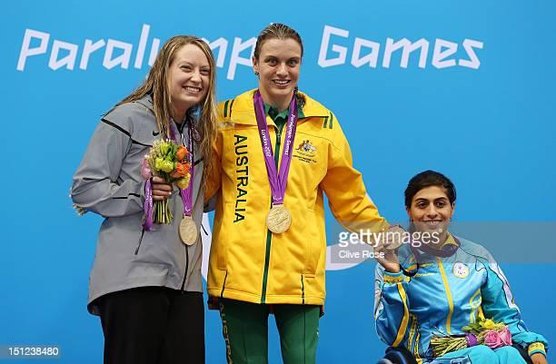 Silver medallist Cortney Jordan of the United States gold medallist Jacqueline Freney of Australia and bronze medallist Ani Palian of Ukraine pose on...