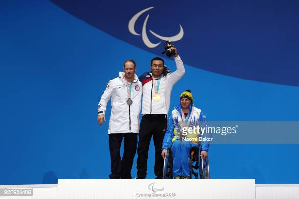 Silver Medallist Daniel Cnossen of the United States Gold Medallist Sin Eui Hyun of South Korea and Bronze Medallist Maksym Yarovyi of Ukraine...