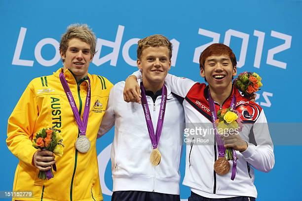 Silver medallist Daniel Fox of Australia gold medallist Jon Margeir Sverrisson of Iceland and bronze medallist Wonsang Cho of Korea pose on the...