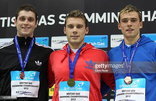 Silver medallist David Davies of City of Cardiff Gold medallist Daniel Fogg of Loughborough University S WPC and Bronze Medallist Jack Burnell of...