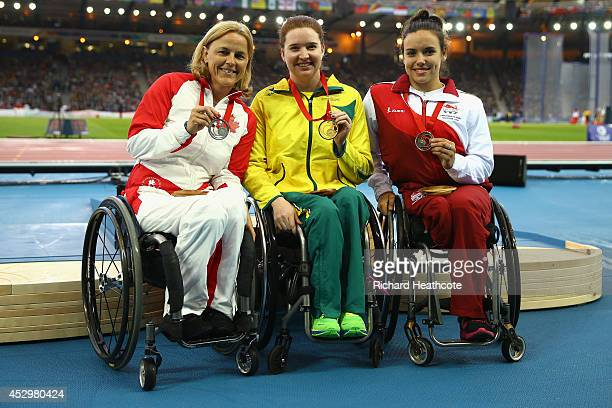 Silver medallist Diane Roy of Canada gold medallist Angela Ballard of Australia and bronze medallist Jade Jones of England pose on the podium during...