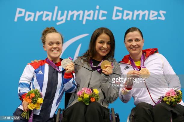 Silver medallist Eeanor Simmonds of Great Britain gold medallist Victoria Arlen of the United States and bronze medallist Tanja Groepper of Germany...
