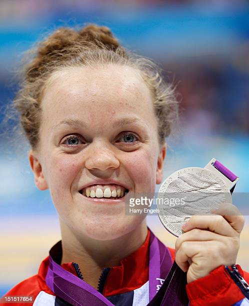 Silver medallist Eleanor Simmonds of Great Britain poses on the podium during the medal ceremony for the Women's 100m Freestyle S6 final on day 10 of...