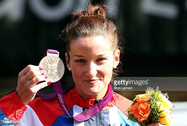 Silver medallist Elizabeth Armitstead of Great Britain celebrates during the Victory Ceremony after the Women's Road Race Road Cycling on day two of...