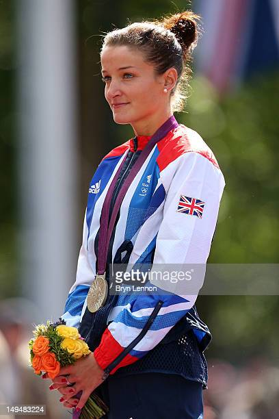 Silver medallist Elizabeth Armitstead of Great Britain looks on during the Victory Ceremony after the Women's Road Race Road Cycling on day two of...
