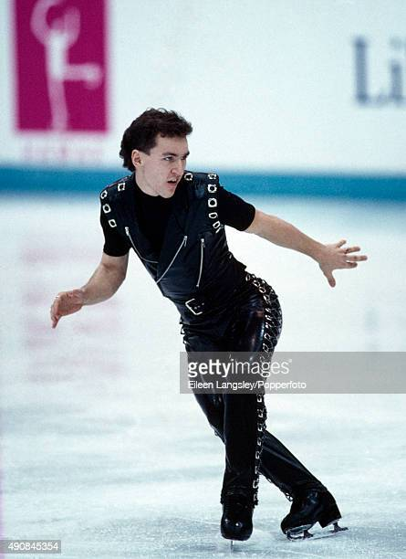 Silver medallist Elvis Stojko of Canada in the men's figure skating event during the Winter Olympic Games in Lillehammer Norway circa February 1994