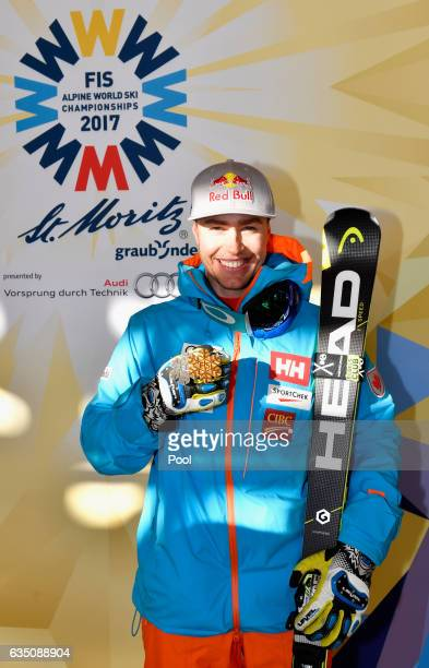 Silver medallist Erik Guay of Canada poses during the medal ceremony for the Men's Downhill during the FIS Alpine World Ski Championships on February...