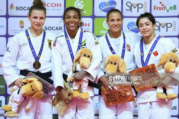 Silver medallist Gemany's Theresa Stoll gold medallist Brazil's Rafaela Silva and bronze medallists Hungary's Hedvig Karakas and Canada's Christa...