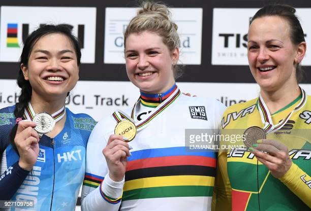 Silver medallist Hong Kong's Wia Sze Lee Gold medallist Belgium's Nicky Degrendele and Bronze medallist Lithuania's Simona Krupeckaite pose on the...
