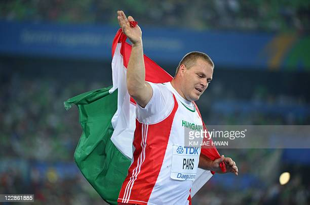 Silver medallist Hungary's Krisztian Pars celebrates after the men's hammer throw final at the International Association of Athletics Federations...