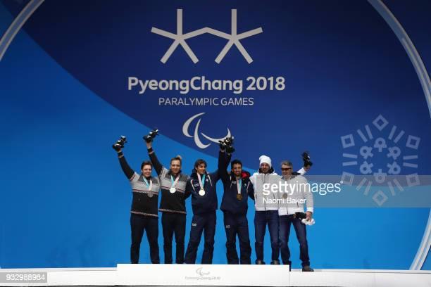 Silver Medallist Jakub Krako of Slovakia and his guide Branislav Brozman Gold Medallist Giacomo bertagnolli of Italy and his guide Fabrizio Casel and...