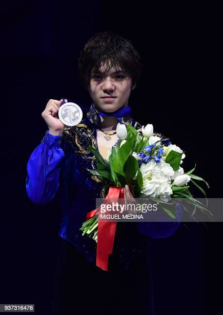 Silver medallist Japan's Shoma Uno poses on the podium of the MenFree Skate program at the Milan World Figure Skating Championship 2018 on March 24...