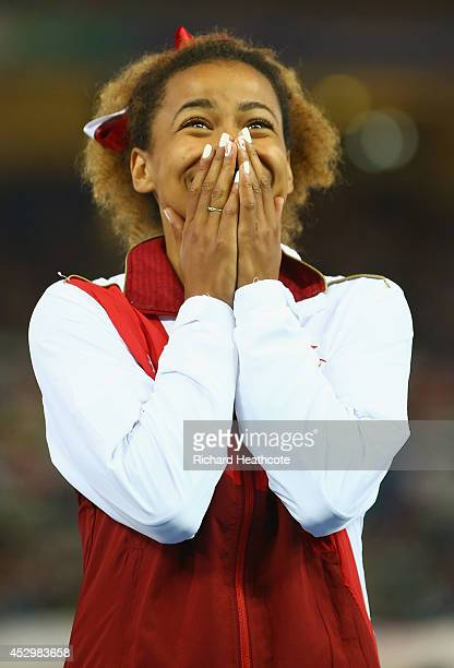 Silver medallist Jazmin Sawyers of England on the podium during the medal ceremony for the Women's Long Jump at Hampden Park during day eight of the...