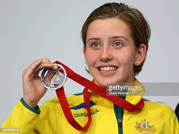 Silver medallist Katherine Downie of Australia poses during the medal ceremony for the Women's 200m Individual Medley SM10 Final at Tollcross...