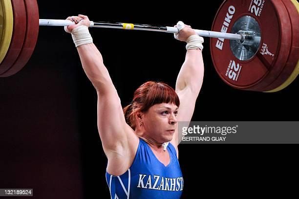 Silver medallist Kazaktan's Podobedova Svetlana competes during the 2011 World Weightlifting Championships' finals in the 75 kg women's weight class...